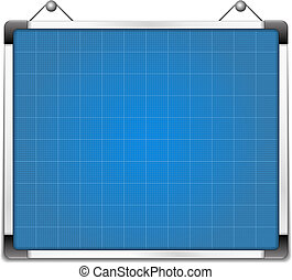 Whiteboard with blueprint, vector eps10 illustration