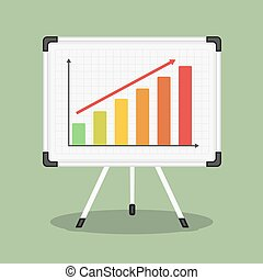 Whiteboard with growing bar graph, vector eps10 illustration