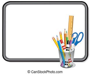 Whiteboard with office and art supplies: pens, colored pencils, scissors, ruler. Copy space to add your own text, notes or drawings. EPS8 compatible.