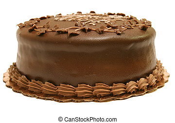 A whole dark chocolate cake. Isolated