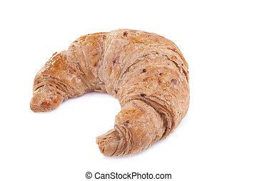 whole wheat croissant isolated on white background