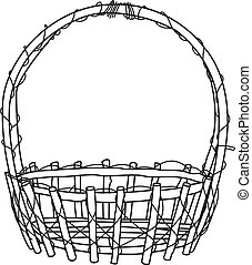 image of Empty wicker basket. Doodle style with vine - Illustration