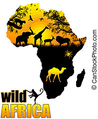 Wild Africa poster background, vector illustration
