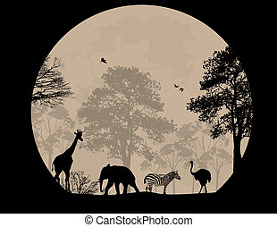 Wild animals in front a full moon, vector illustration