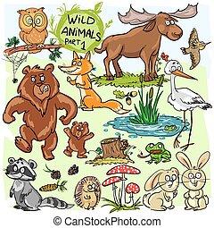 Wild animals, hand drawn collection, part 1.