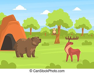 Wild Animals on Beautiful Natural Summer Landscape, Bear and Moose in the or Safari Park Vector Illustration