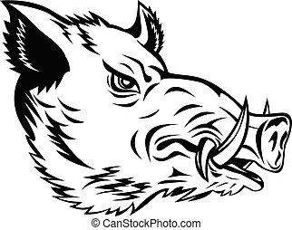 Wild Boar Common Wild Pig or Wild Swine Head Side Mascot Black and White