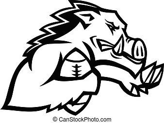 Wild Boar or Razorback With American Football Ball Mascot Black and White