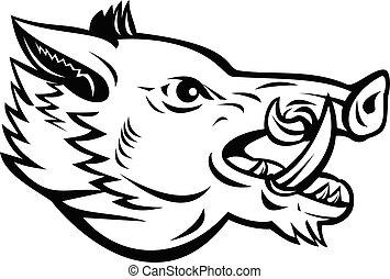 Wild Boar Sus Scrofa Wild Swine Common Wild Pig Head Side Mascot Black and White