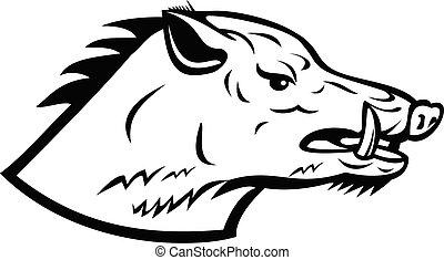 Wild Boar Wild Swine Common Wild Pig Head Side Mascot Black and White
