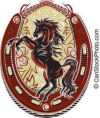 Western style crest with horseshoe and wheat elements