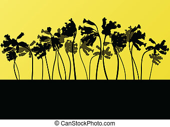 Wild larkspur plants detailed silhouettes illustration collection background vector
