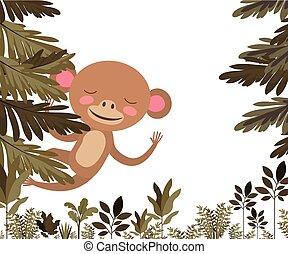 wild monkey in the jungle scene