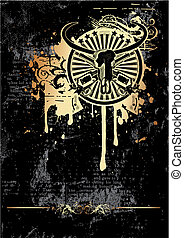 Black grunge background with round vignette with skull of Buffalo and two guns