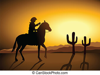 Silhouette illustration of a cowboy riding a horse during sunset