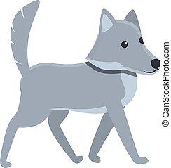 Wild wolf icon, cartoon style