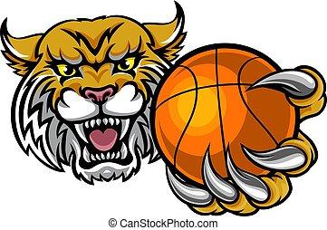 Wildcat Holding Basketball Ball Mascot