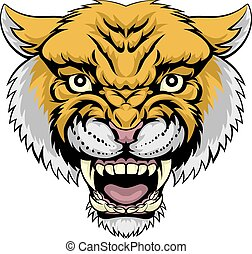 An illustration of a mean powerful wildcat bobacat mountain lion animal face