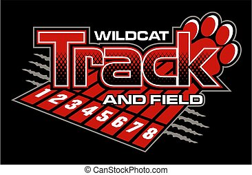 wildcat track and field team design with track lanes and paw print for school, college or league