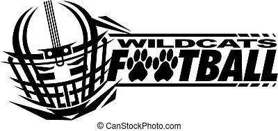 wildcats football team design with helmet and facemask for school, college or league