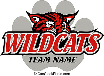 wildcats mascot design with paw print for team or school