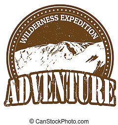 Wilderness expedition, adventure rubber stamp on white, vector illustration
