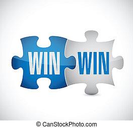 win win puzzle illustration design over a white background