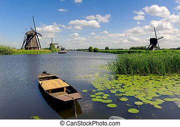 Windmill landscape at Kinderdijk near Rotterdam The Netherlands