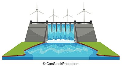 Windmills and dam with streams illustration