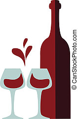 wine bottle and clink glasses with red wine splash (love like heart)