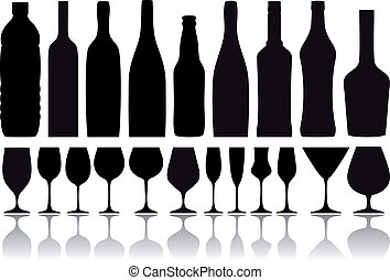 set of wine glass and bottle silhouettes, vector background
