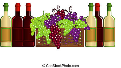 Illustration with wine bottles and grapes