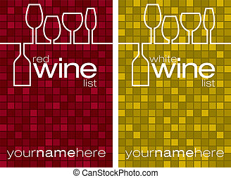 Red and white wine menus in vector format.