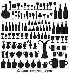Different types of containers for storage, filling and drinking wine.