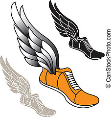 Track athletic sports running shoe logo with wings
