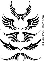 abstract wing silhouettes, vector