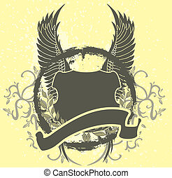 wings and badge vector art