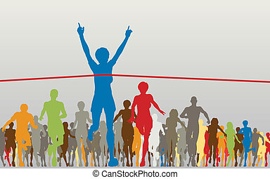 Editable vector illustration of a woman winning a colorful race