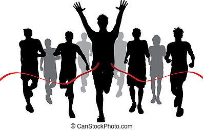 Silhouettes of men racing withone winner reaching the finish