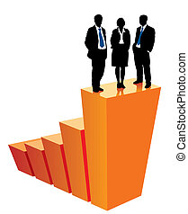Successful business team is standing on a large graph, conceptual business illustration.