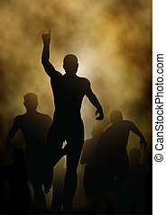 Editable vector illustration of a man celebrating winning a race with smoky or steamy background made with a gradient mesh