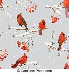 Winter Birds with Rowan Berries Retro Background - Seamless Pattern - in vector