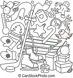 Winter coloring for children.