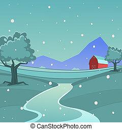 Cartoon illustration of red farm barn, season landscape background.