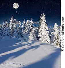 winter landscape in the mountains with full moon.