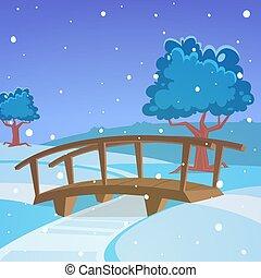 Winter landscape with bridge