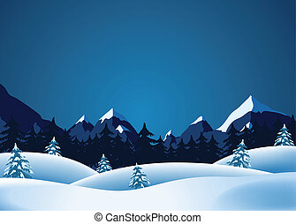 Illustration of winter landscape with mountains range and pine trees forests in the snow