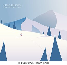 Winter mountain landscape scenery, walking Santa Claus with his bag full of presents in deep snow with pine trees surrounding him and blue sky.