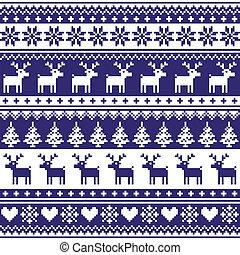 Christmas vector background - vector Scandinavian embroidery style