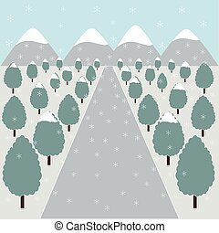 Winter road in nature